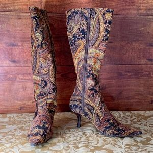 Diba Tapestry Fabric Mid-Calf Boots with Heels